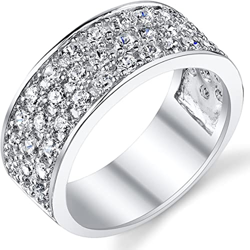 Mens 925 Sterling Silver CZ Cubic Zirconia Satin Wedding Band
