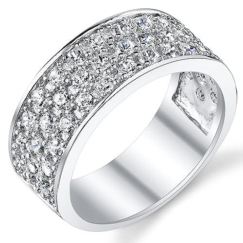 Ultimate Metals Banda Anillo Plata Esterlina 925 Para Hombre, Alinaza de Matrimonio Con Circonitas 9mm