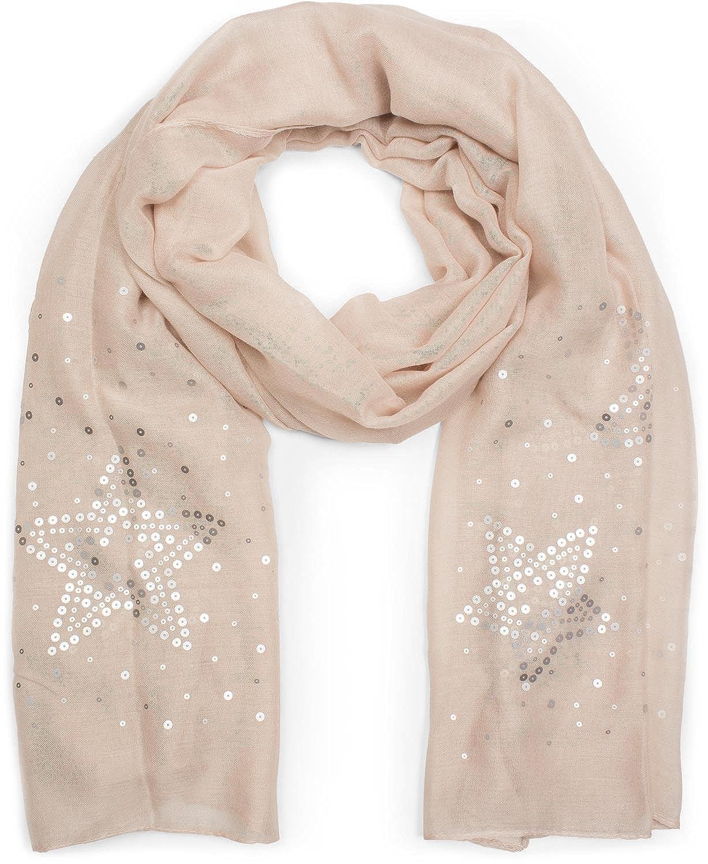Damen 01016152 styleBREAKER Schal unifarben mit Pailletten Sterne an beiden Seiten Glitzer Tuch
