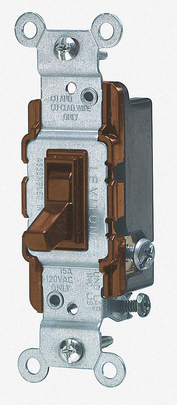 Leviton CS315-2GY 15-Amp, 120/277-Volt, Toggle 3-Way AC Quiet Switch, Commercial Grade, Grounding, Gray
