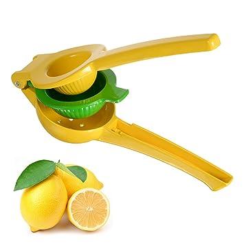 Yuntong Premium aluminio amarillo limón naranja Exprimidor Manual - 2 cuencos construido en 1 exprimidor de fruta de mano, color amarillo y verde: ...