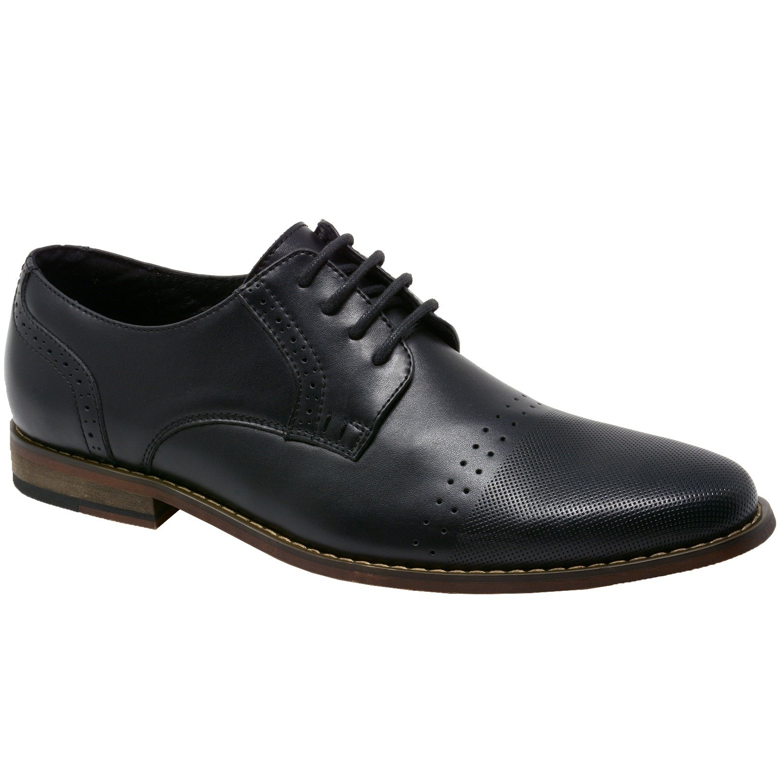 Double Diamond By Alpine Swiss Men's Genuine Leather Lace up Oxfords Dress Shoes BLK 10 M US