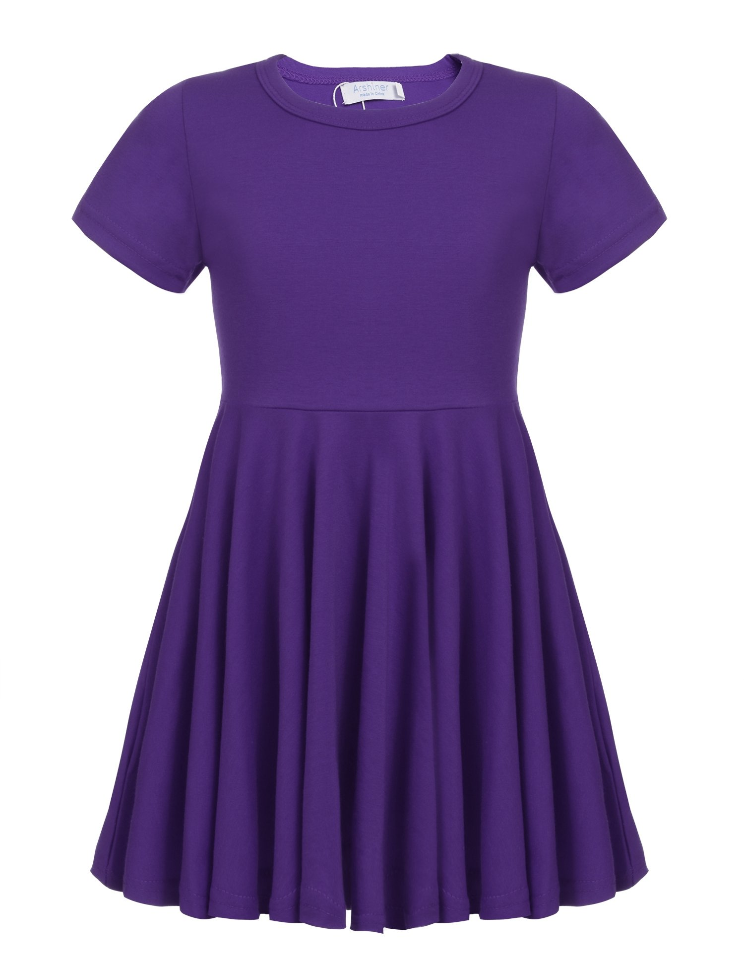 Arshiner Little Girls Short Sleeve A Line Casual Skater Dress Purple 120(Age for 6-7Y)