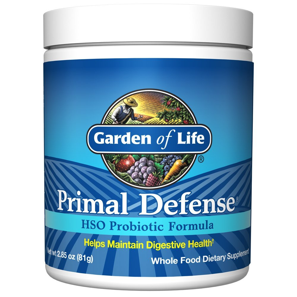Garden of Life Whole Food Probiotic Supplement - Primal Defense HSO Probiotic Dietary Supplement for Digestive and Gut Health, 2.85oz (81g) Vegetarian Powder