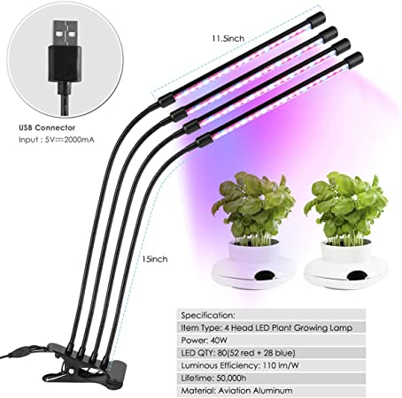 LED Grow Light Plant Growing Lamp Light With Clip For Indoor Plants Hydroponics
