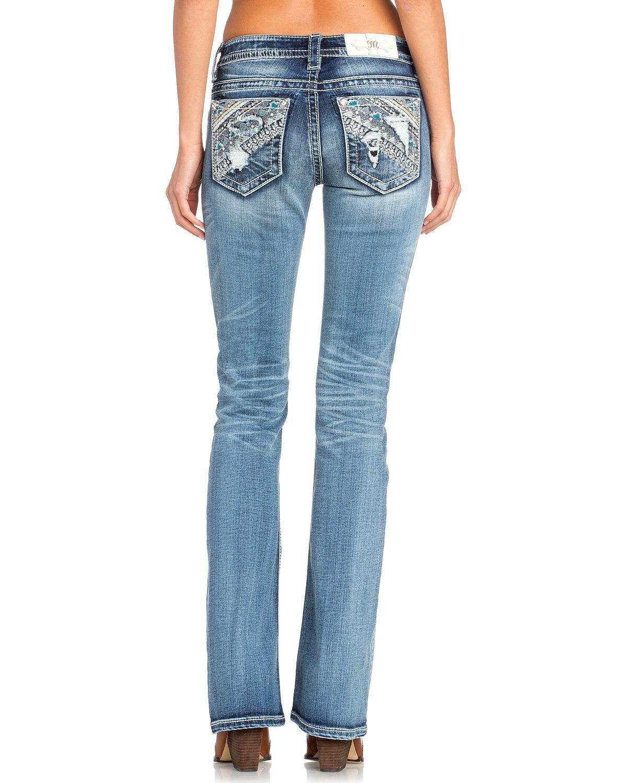 Miss Me Women's Aztec Embellished Boot Cut Jeans Indigo 29