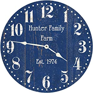 Personalized Blue Wall Clock No Ticking Round Wood Clock Rustic Blue Vintage Home Decor Living Room Bedroom Office School Baby Room Clock