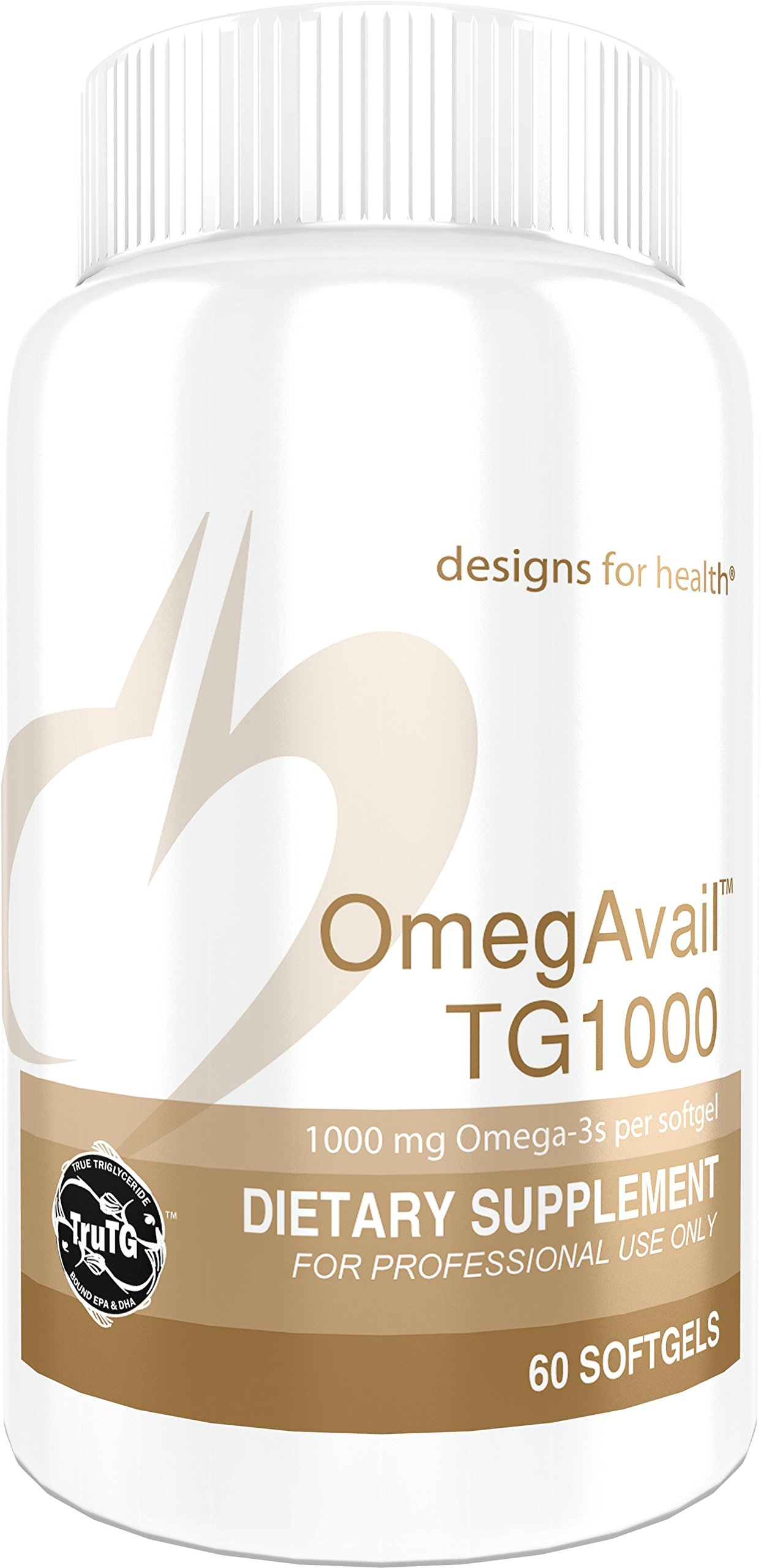 Designs for Health - OmegAvail TG1000 - 1000mg Triglyceride (TG) Fish Oil, 60 Softgels