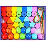 42PCS Lacing Beads Montessori Toys for Toddlers Wooden Primary String Threading Beads Rainbow Lacing Toy Preschool Fine Motor