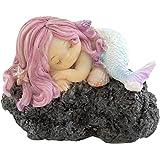 Top Collection Miniature Fairy Garden and Terrarium Sleeping Little Mermaid on Rock Statue