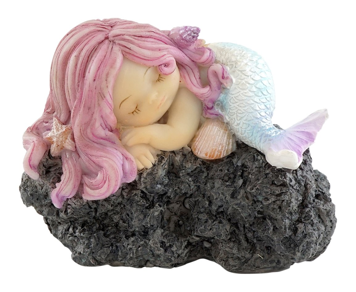 Top Collection Miniature Fairy Garden and Terrarium Sleeping Little Mermaid on Rock Statue
