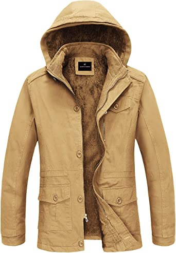 Mens Stylish Warm Military Fur Hooded Coat Winter Thicken Cotton Jacket Outwear