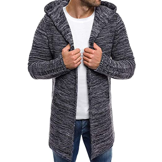 b0a768393dfdb6 Image Unavailable. Image not available for. Color  Sumen Men Autumn Winter  Hooded Trench Coat Knitted Open Front Sweater Cardigan