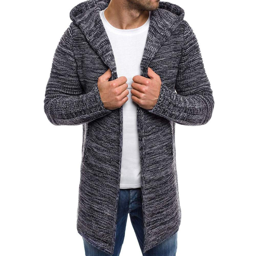 Mens Cardigan Sweater Shawl Collar Open Front Long Sleeve Knit Slim Fit Vintage Coat Pockets (L, Gray)