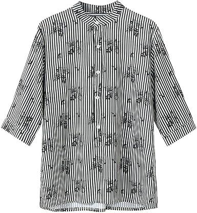 MEIbax Verano Collar de Moda Camisa de Manga de los Hombres Estampado de Rayas Camiseta Suelta de Hombre: Amazon.es: Ropa y accesorios
