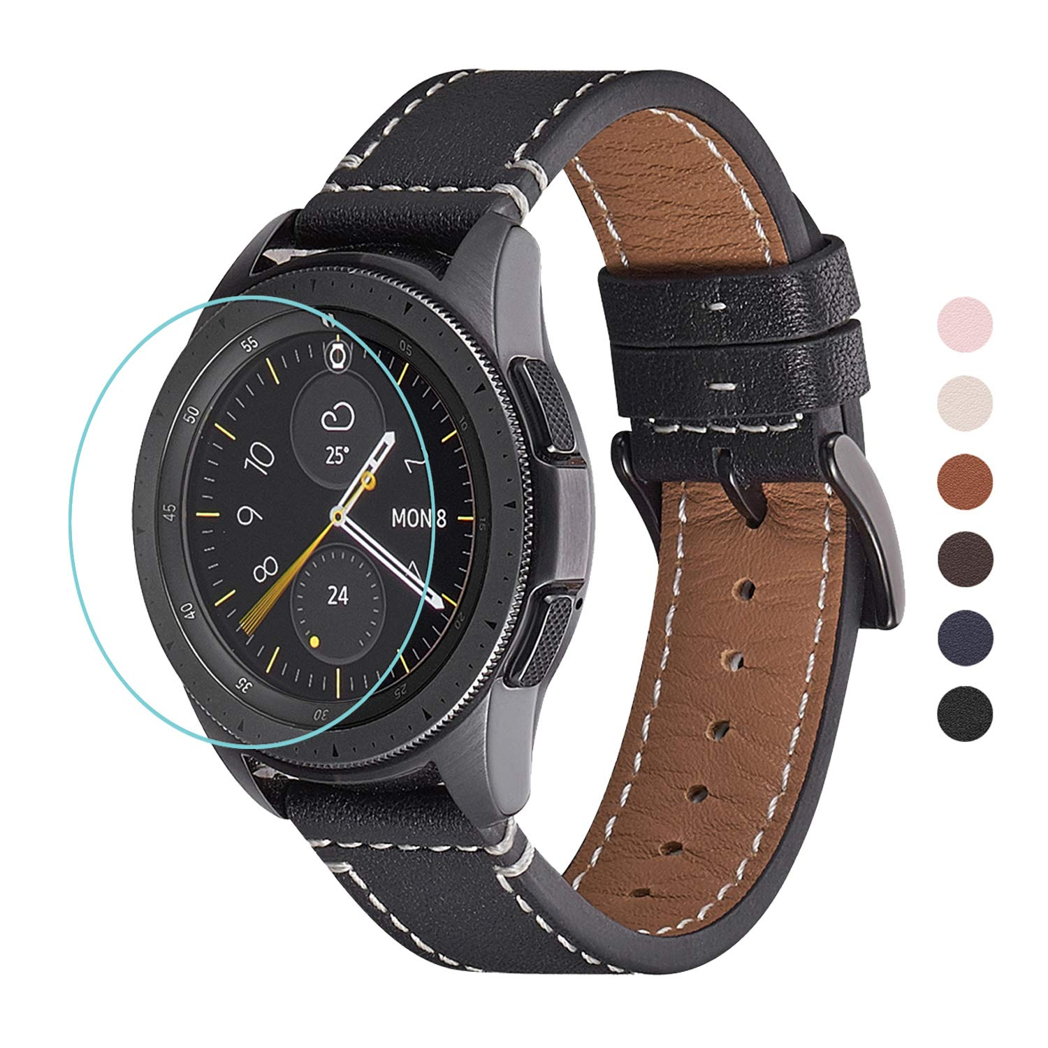 WFEAGL Compatible with Samsung Galaxy Watch Band 42mm 46mm, Top Grain Leather Strap Replacement Wristband for Samsung Samsung Galaxy & Gear ...
