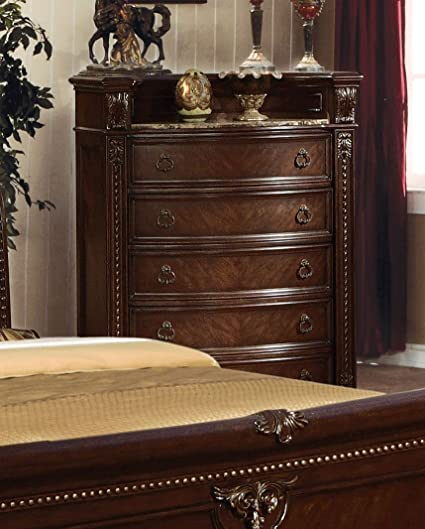 Acme Furniture 10316 Anondale Chest with 5 Drawers Marble Top Open Shelf Antique  Hardware Decorative Carvings - Amazon.com: Acme Furniture 10316 Anondale Chest With 5 Drawers