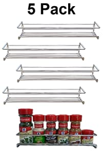 Premium Presents 5 Pack. Wall Mount Spice Rack Organizer for Cabinet. Spice Shelf. Seasoning Organizer. Pantry Door Organizer. Spice Storage. 12 x 3 x 3 inches Brand
