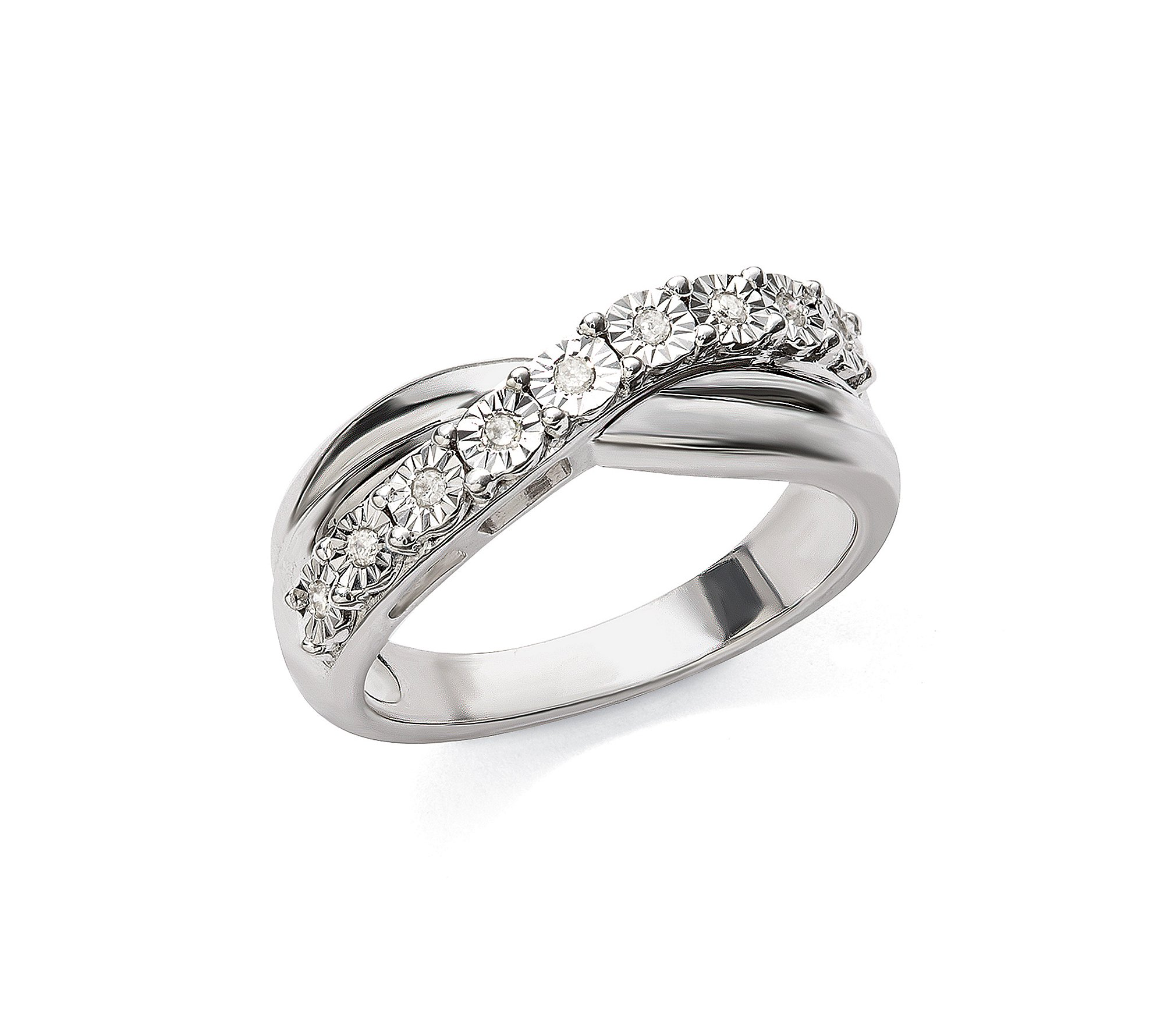 0.08 ct. t.w. Diamond Crossover Band Ring in Sterling Silver