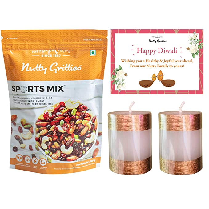 Nutty Gritties Diwali Gift Sports Mix 350g + Diwali Greeting Card + Candles (Pack of 2): Amazon.in: Grocery & Gourmet Foods