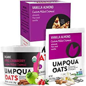 Umpqua Oats - Combo - All Natural, Premium Oatmeal Packets and Cups - No Mush, Custom Milled (Vanilla Almond, Organic Apple Cranberry) 20 count