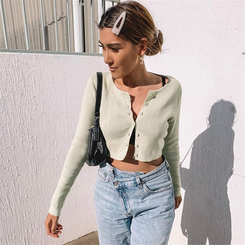 Bowanadacles Crop Top Donna Cardigan Maglia a Maniche Lunghe con Bottoni Slim Casual