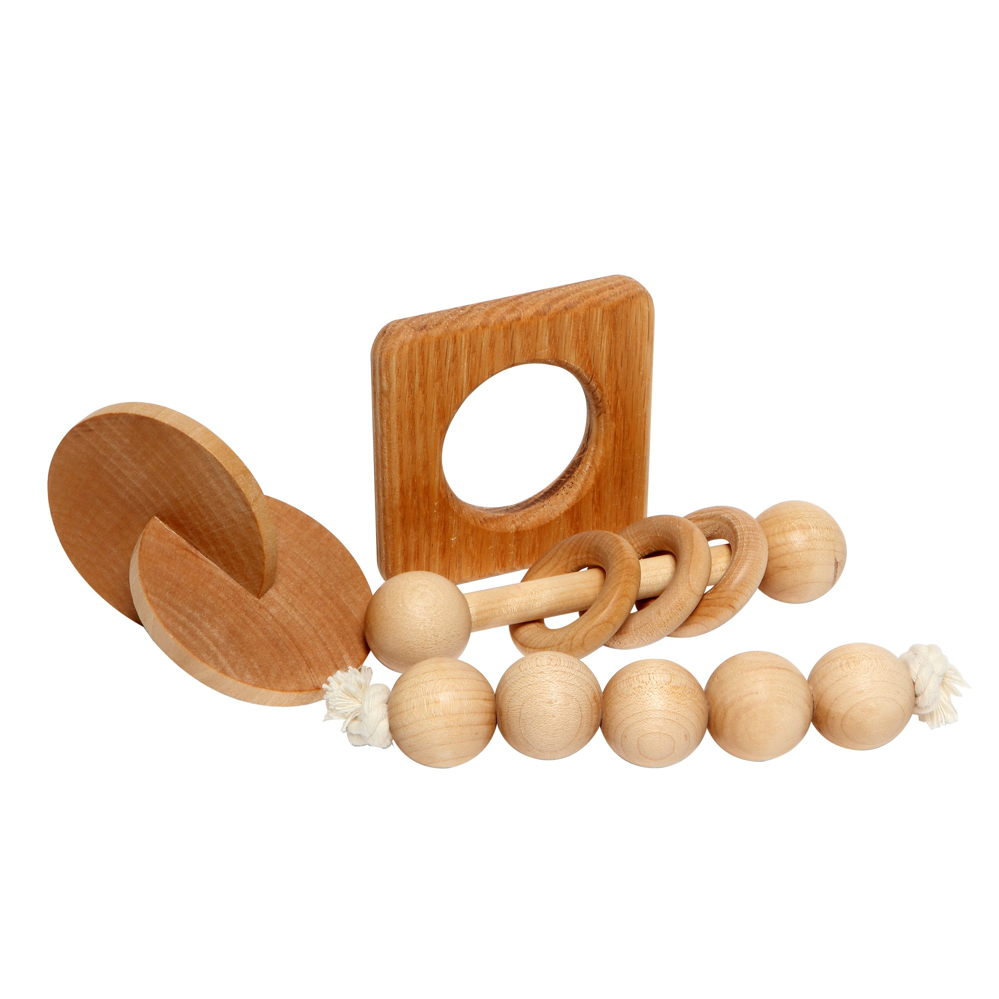 montessori inspired wooden baby toys- Set of 4 includes a rattle, teethers and bonus eBook
