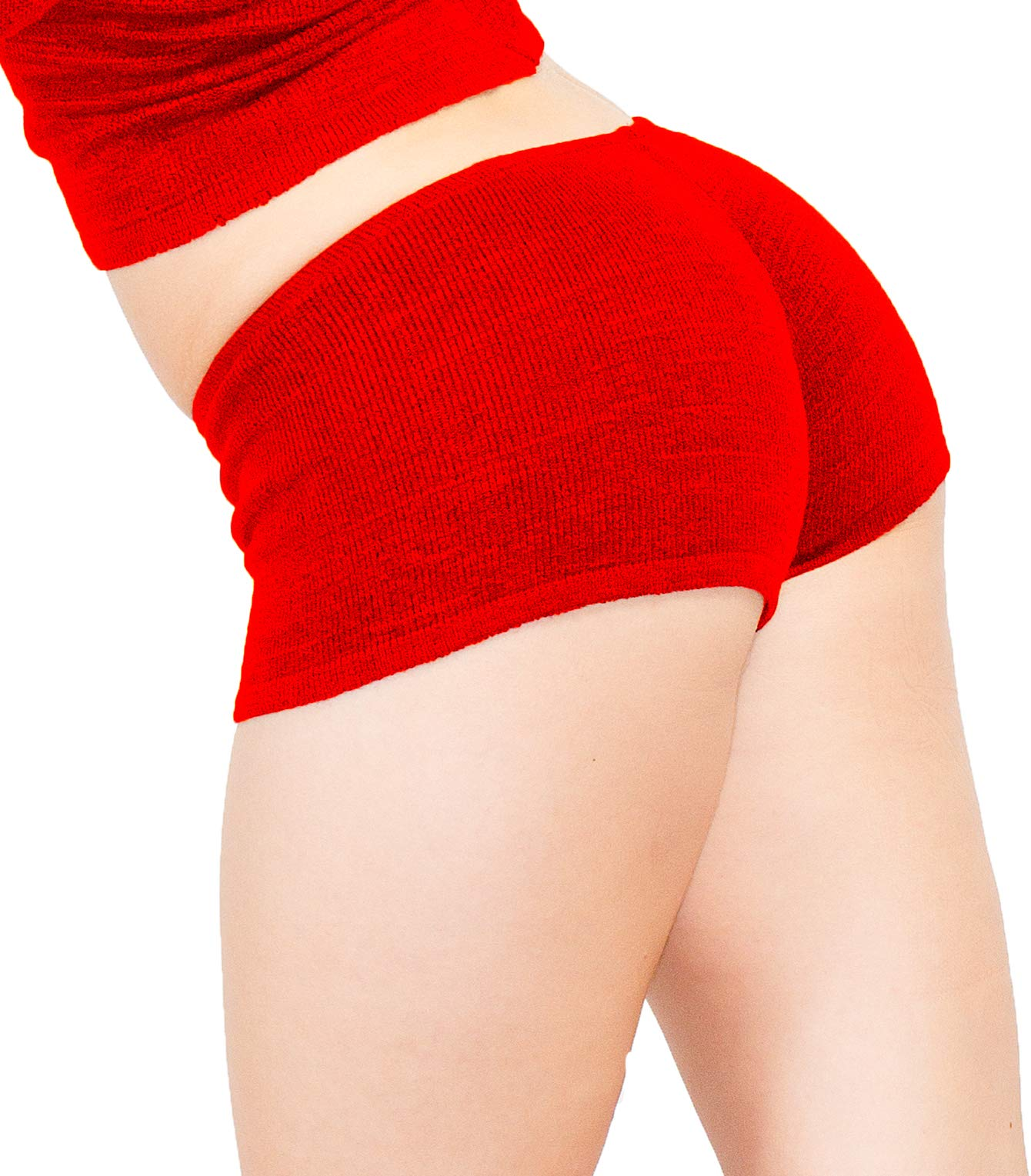 Red Small Sexy Booty Shorts Stretch Knit KD Dance Low Rise Sustainably Manufactured Yoga Gym Zumba Twerk Made in USA