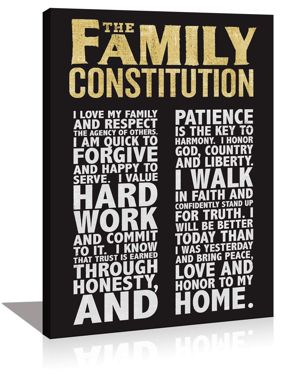Family Constitution Motivational Quotes Framed Wall Art Decor Inspirational Motto Canvas Prints