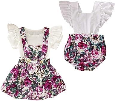 Puseky Big Little Sister Trajes a Juego Camisa con Volantes Top Falda Floral o Conjunto de Mameluco: Amazon.es: Ropa y accesorios