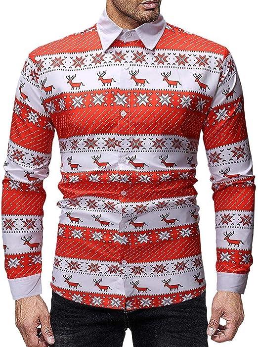 Blusa NavideñA para Hombre, Hombre Vintage Reno de Navidad Moda Mangas Largas Casual Camisa de Vestir de Corte Slim SóLida Formal Informal: Amazon.es: Ropa y accesorios