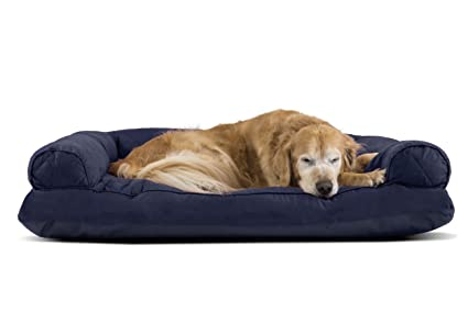 Furhaven Pet Quilted Pillow Sofa Pet Bed, Navy, Jumbo