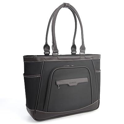 Amzbag Laptop Tote Bag 15.6 Inch Multi-functional Shoulder Bag With Removable Laptop Compartment Leisure Handbag Top-handle Bag Women Briefcase (Black) high-quality