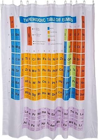 Práctica cortina de ducha con el diseño de la tabla periódica.,El artículo es ideal para facilitar e