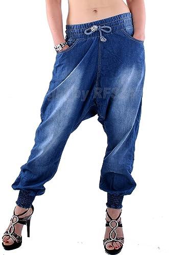 Mujer Harén Pantalón pumphose pluder Boyfriend Sarouel de Aladin Harén Pantalones vaqueros 871