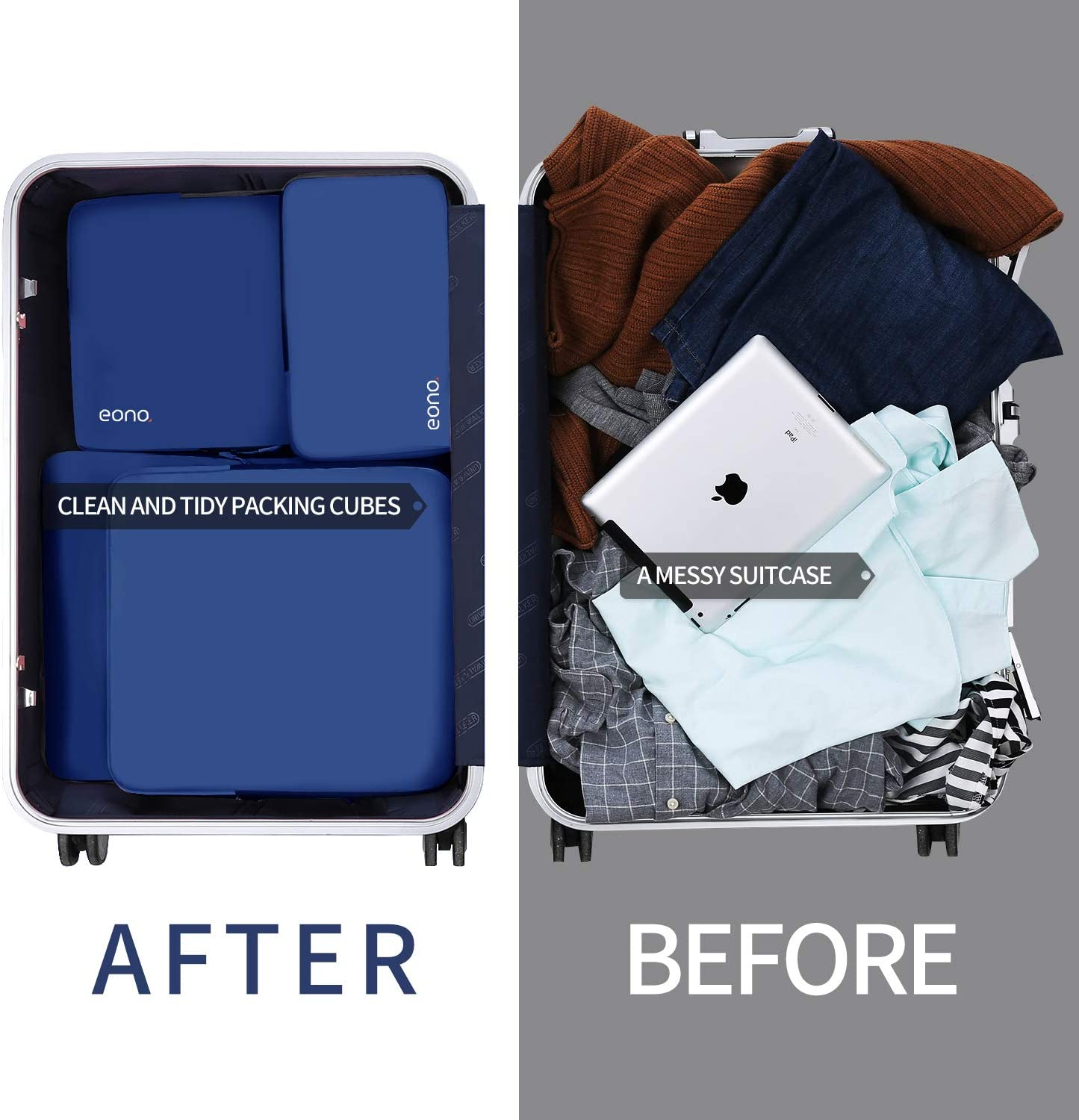 Eono Essentials 4 Set Compression Packing Cubes Travel Expandable Packing Organizers Navy