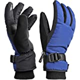 OZERO Winter Gloves for Youth with Touch Screen Function Adopted 3M Thinsulate Insulated Technology Warm Thermal Waterproof Windproof Snow Ski Gloves in Cold Weather(Blue-black)