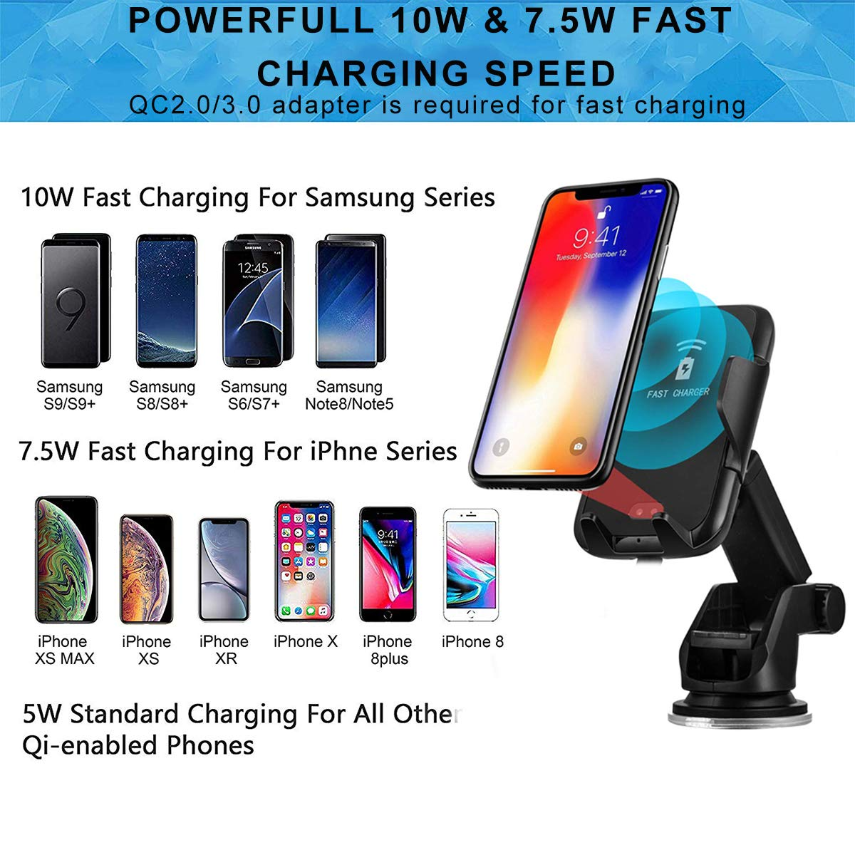 MASHANG Universal Car Dashboard Mount Holder Cradle for iPhone Xs XS Max X 8 8 Plus 7 7 Plus SE 6S 6 Plus Samsung Galaxy S6 S5 S4 LG Nokia Huawei and More Phone Holder for Car