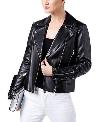 efc99493 MICHAEL Michael Kors Ruffled Leather Biker Jacket (Black, L) at Amazon  Women's Coats Shop