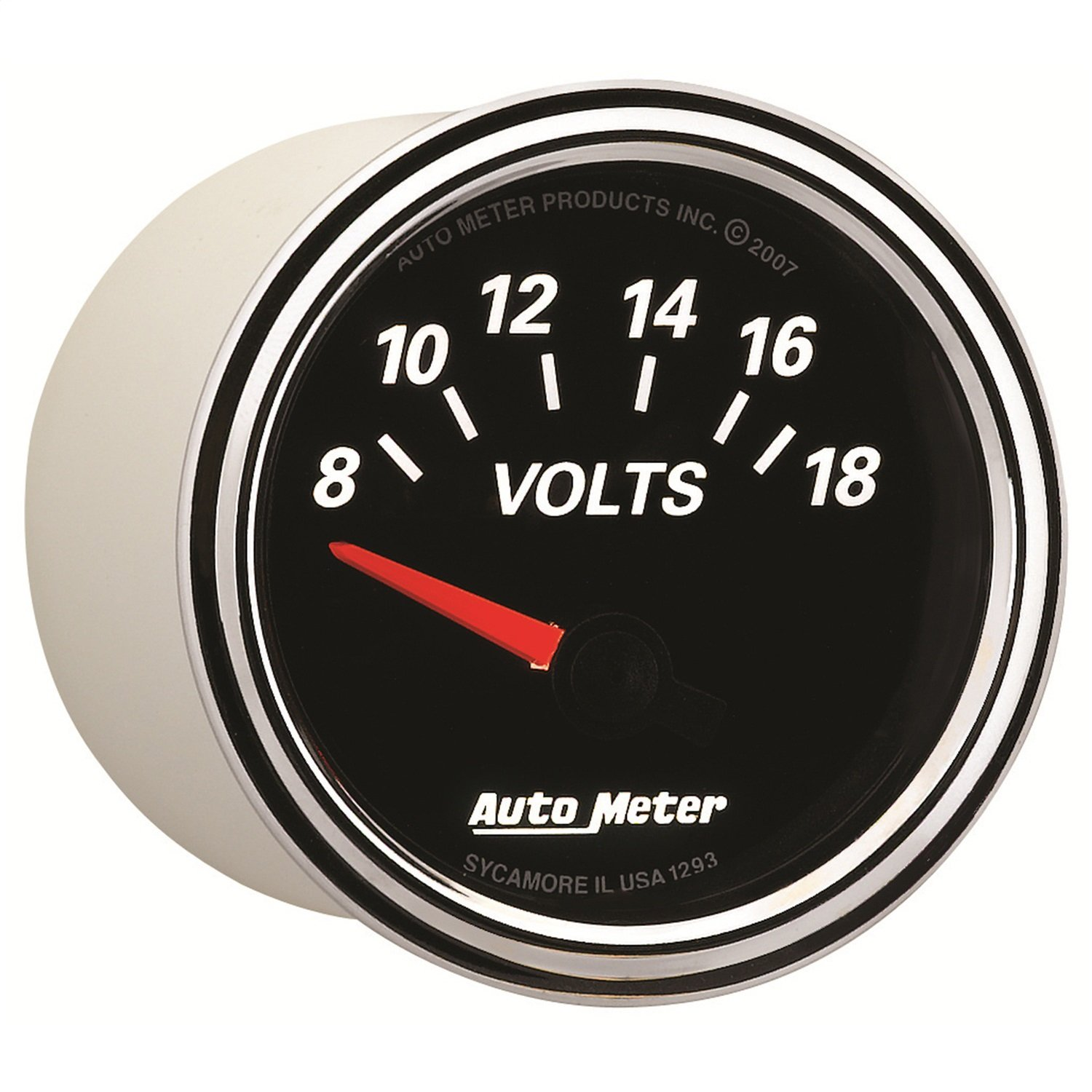 Auto Meter 1293 Designer Black II 2-1/16'' 8-18 Volt Short Sweep Electric Voltmeter Gauge by AUTO METER