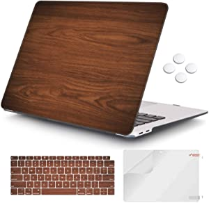 iCasso MacBook Air 13 inch Case 2020 2019 2018 Release A2179/A1932 with Touch ID Retina Display, Plastic Hard Shell Case and Keyboard Cover Only Compatible Newest MacBook Air 13'' - Brown Wood