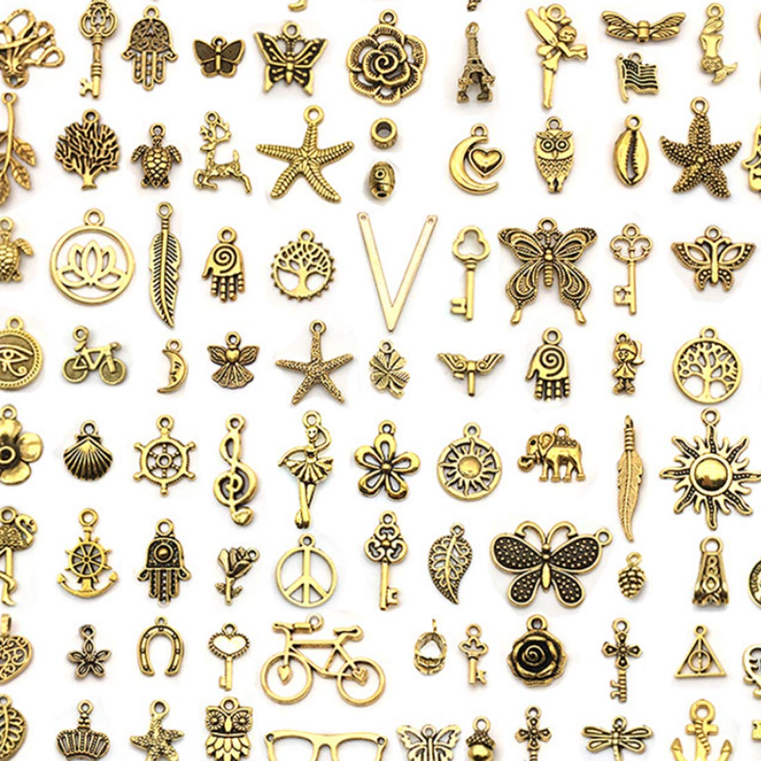 JIALEEY 100Pcs Tibetan Antique Gold Charm Mixed Pendants DIY for Bracelet Necklace Jewelry Making and Crafting