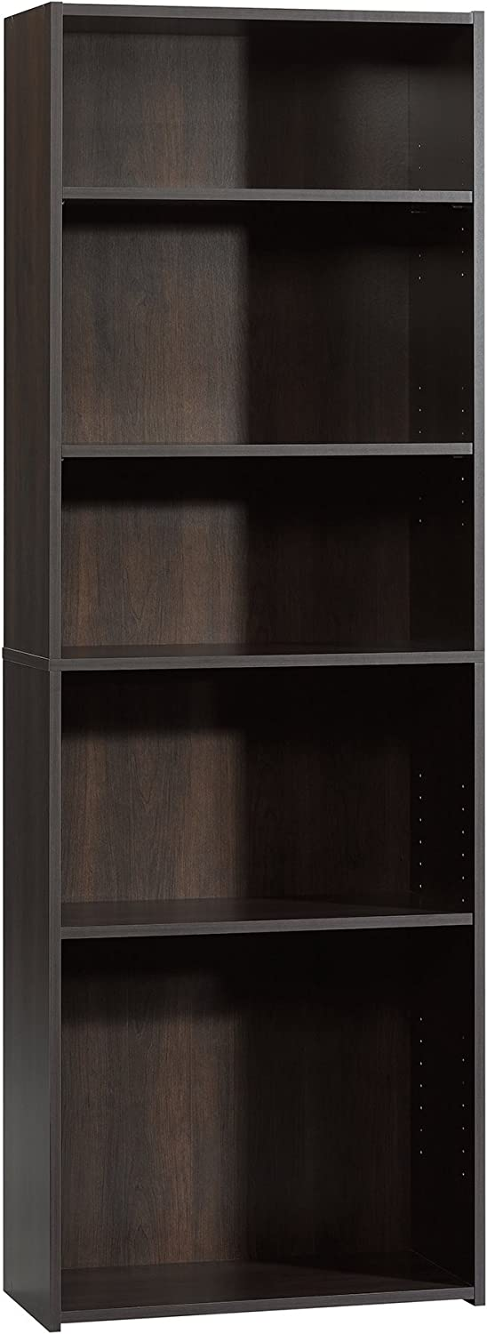 "Sauder Beginnings 5-Shelf Bookcase, L: 24.57"" x W: 11.50"" x H: 71.18"", Cinnamon Cherry finish"