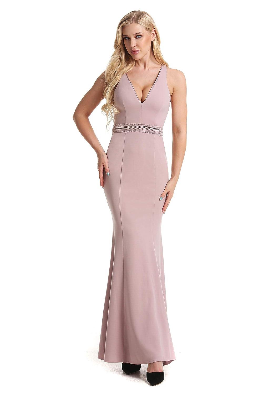 Mermaid Party Dresses Womens Vintage Deep-V Wedding Bridesmaid Evening Dress