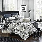 Duvet Cover Set Queen Size - 3 Pieces Floral Leaf Vintage Flower Microfiber Soft Lightweight Down Duvet Comforter Quilt…