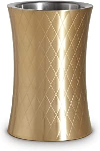 VonShef Gold Wine Chiller Bottle Cooler, Etched Brushed Gold, Stainless Steel, Double Walled, Stemless Holder