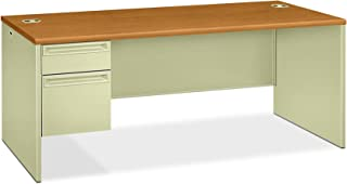 product image for HON Left Pedestal Desk with Lock, 72 by 36 by 29-1/2-Inch, Harvest/Putty