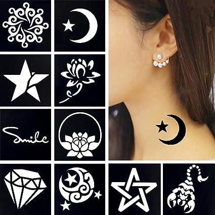 10 Hojas Con Pequeñas Plantillas Para Tatuajes De Henna Aerógrafo