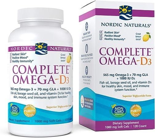 Nordic Naturals Complete Omega-D3, Lemon Flavor - 565 mg Omega-3 + 70 mg GLA + 1000 IU Vitamin D3-120 Soft Gels - EPA & DHA - Healthy Skin & Joints, Cognition, Positive Mood - Non-GMO - 60 Servings