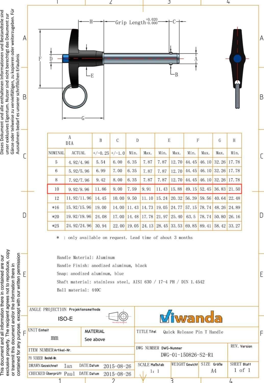 Pasador de Liberaci/ón R/ápida inoxidable con Mango en T Viwanda longitud de agarre 25mm Autobloqueable di/ámetro M5